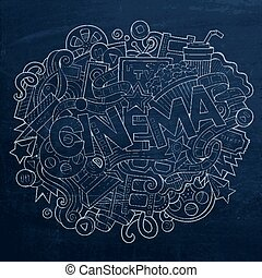 Cartoon cute doodles hand drawn Cinema inscription....