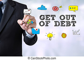 Get Out of Debt concept Businessman drawing Landing Page on...