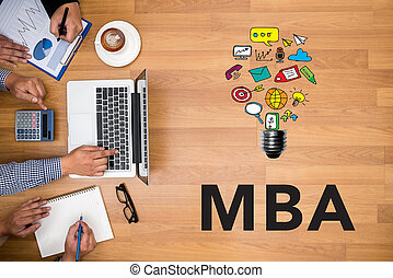 Talking Communication MBA Concept - Business team hands at...
