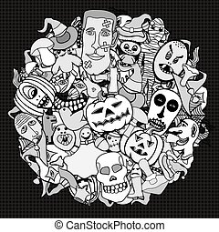 Halloween round illustration. - Monochrome Hand Drawn...