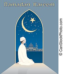 prayers at ramadan - a vector illustration in eps 10 format...
