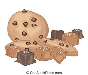 salted caramel and cookies - a vector illustration in eps 10...