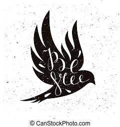 Black bird isolated with expanded wings and motivation quote...