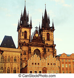 Church of Our Lady in front of Tyn, Prague, Czech Republic....