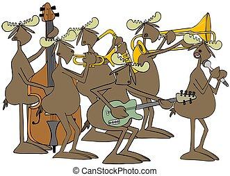 Bull moose jazz band - Illustration of six bull moose...