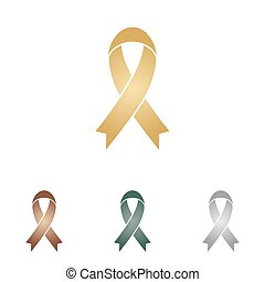 Black awareness ribbon sign. Metal icons on white backgound.