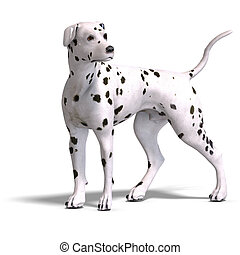 Dalmation Dog. 3D rendering with clipping path and shadow...