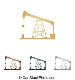 Oil drilling rig sign. Metal icons on white backgound.