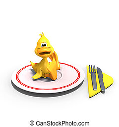cute and funny toon duck served on a dish as a meal. 3D rendering with clipping path and shadow over white