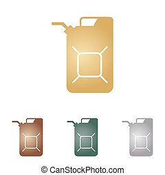 Jerrycan oil sign. Jerry can oil sign. Metal icons on white...