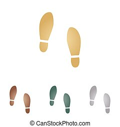 Imprint soles shoes sign Metal icons on white backgound