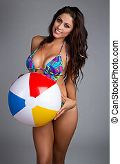 Beach Ball Woman - Bathing suit beach ball woman
