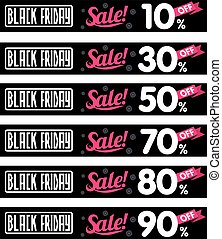 Black Friday sales tag. Vector flat Illustration, grouped...