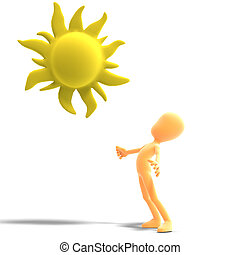 3d male icon toon character standing in the sun. 3D rendering with clipping path and shadow over white