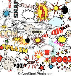 Seamless Comic Book Explosion, Bombs And Blast Set. Bubbles...