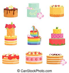 Special Occasion Decorated Cakes Assortment Bright Color...