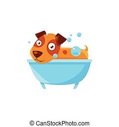 Puppy Taking A Bubble Bath In  Tub