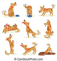 Brown Dog Set Of Normal Everyday Activities. Set Of Classic...