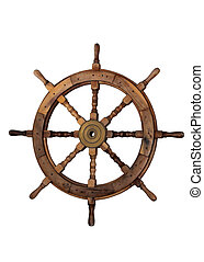 Sail Boat Helm on White Background - The steering wheel of a...