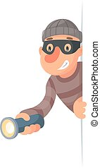 Thief with flashlight peeping out of the corner cartoon...