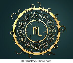 Astrology symbols in golden circle. The scorpion sign