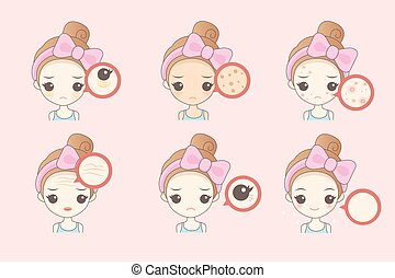 Face Skin Problem - cartoon woman unhappy with her eyebags...