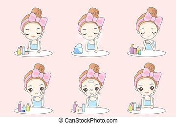 woman is doing beauty care - cute cartoon woman is doing...