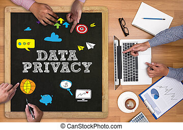 Data Privacy Concept Businessman working at office desk and...