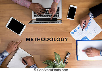 METHODOLOGY CONTEPT Business team hands at work with...