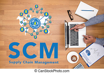 SCM Supply Chain Management concept - Businessman working at...