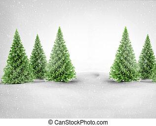 Green pine trees in snowy landscape