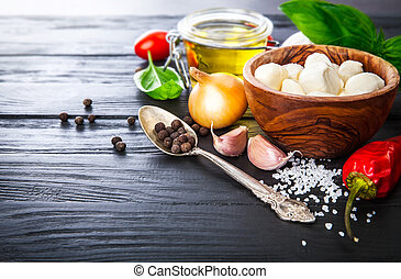 Vegetables and spices ingredient for cooking italian food