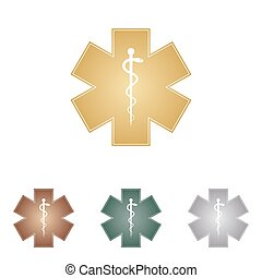 Medical symbol of the Emergency or Star of Life. Metal icons on white backgound.