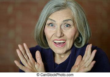 Happy elderly woman - Portrait of a happy elderly woman...