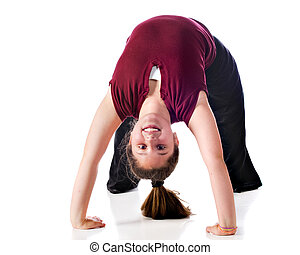 Bending Over Backwards - A happy preteen doing a backbend....