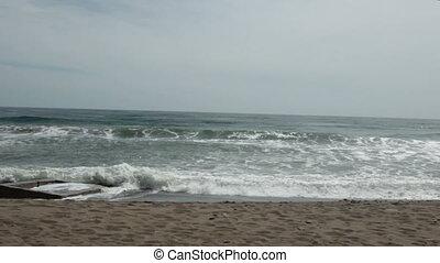 camera moves along the coast - the camera moves along the...