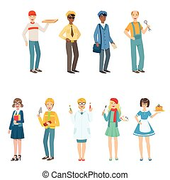 People With Different Professions In Classic Outfits Collection.