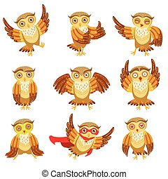 Cute Brown Owl Emoji Icon Set.Cute Brown Owl Everyday...