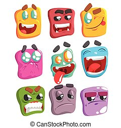 Square Face Colorful Emoji Set Od Isolated Icons On White...