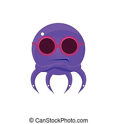 Sceptic Funny Octopus In Shades Emoji. Cute Vector Emoticon...