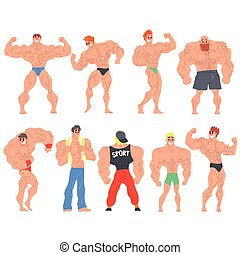 Muscly Bodybuilders Funny Characters Set. Cartoon Fun Style...