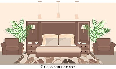 Hotel room interior in warm colors with furniture and houseplants