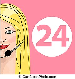 Round-the-clock telephone support. Woman dispatcher. Vector...