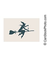 Flying young witch icon. Witch silhouette on a broomstick -...