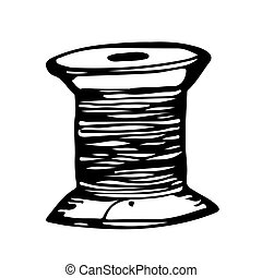 reel of cotton hand draw doodle illustration design