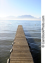 Annecy lake in France - Landscape of Annecy lake and wooden...