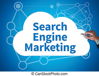 Search Engine Marketing businessman work on white broad, top...
