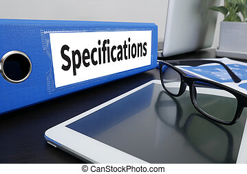 Specifications Office folder on Desktop on table with Office...