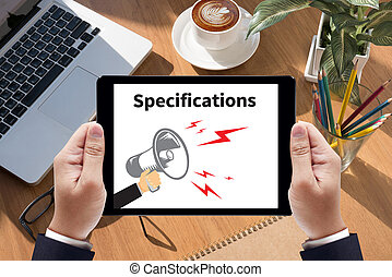 Specifications Businessman work  on tablet on screen