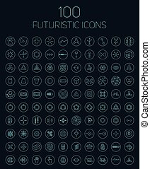 100 abstract vector futuristic icons. - Collection of 100...